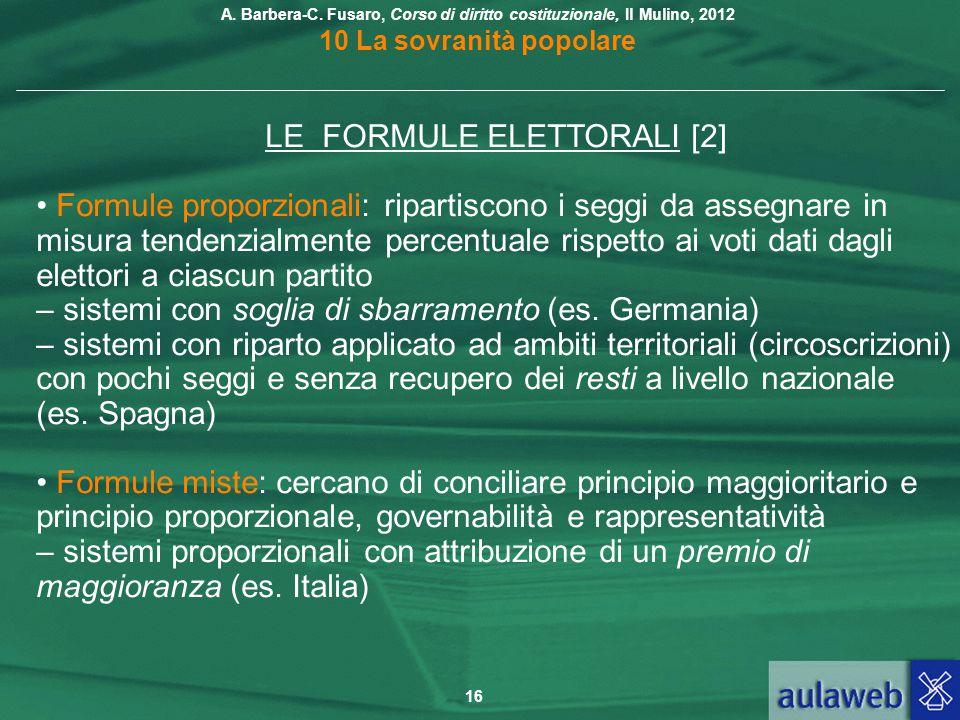LE FORMULE ELETTORALI [2]